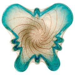 "Mid-Century Italian Murano Glass ""Gold Flecks"" Butterfly Bowl"