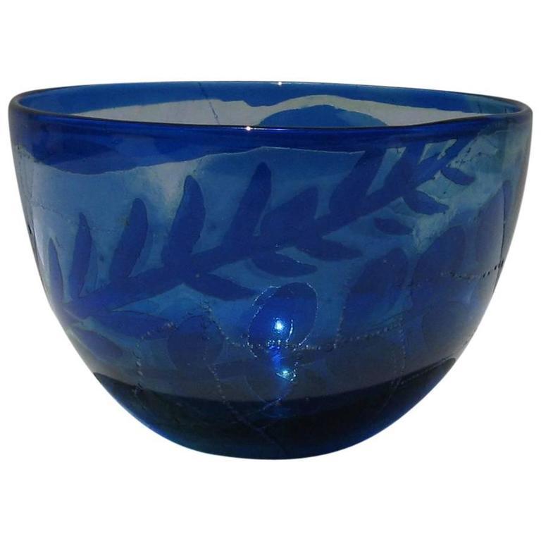 Kosta Boda Bowl, Internally Decorated with Botanical Designs by Goran Warff