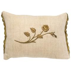 Antique Metallic Gold Rose Appliqué Linen Pillow