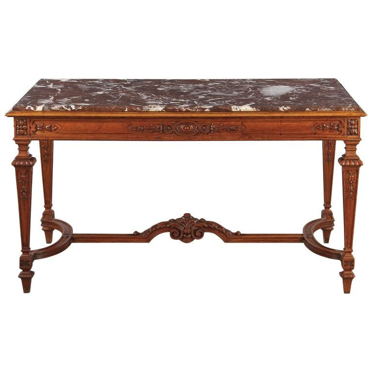 19th Century French Louis XIV Style Marble-Top Hunt Table 1