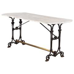 French Art Nouveau Marble-Top Wrought Iron Bistro Table, 1890s