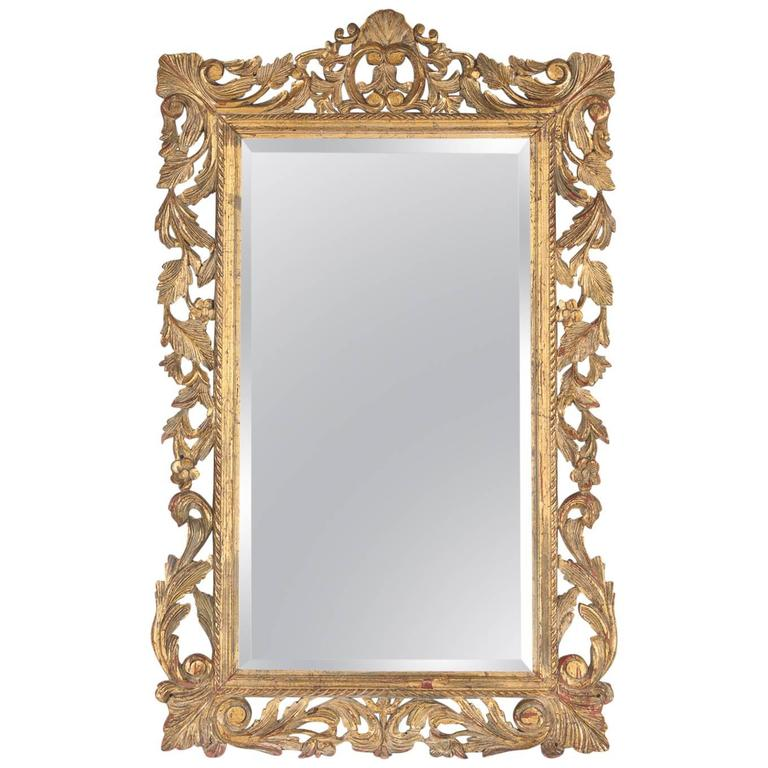 French rococo style mirror with gilt wood frame early for Rococo style frame