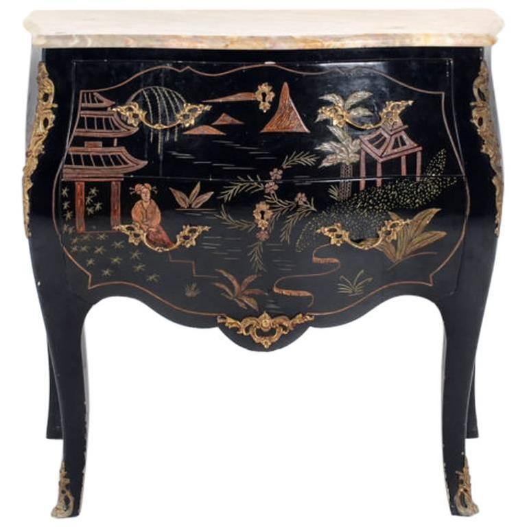 French Black Lacquer Chinoiserie Commode