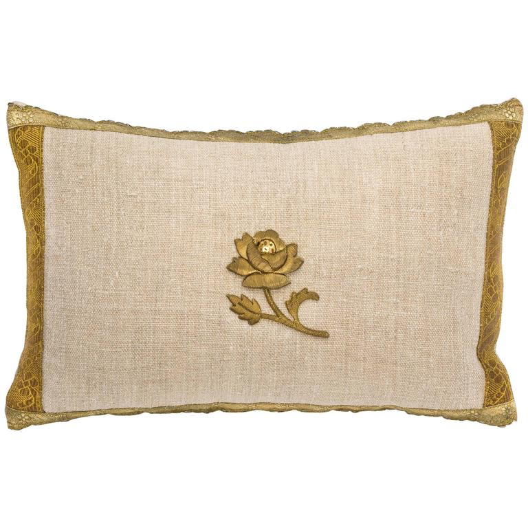 Antique Metallic Gold and Vintage Linen Pillow For Sale