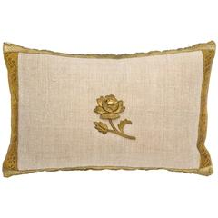 Antique Metallic Gold and Vintage Linen Pillow