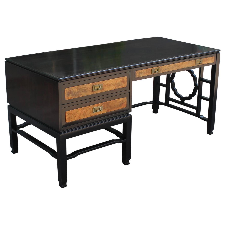 Fabulous john widdicomb walnut and burl wood desk at stdibs