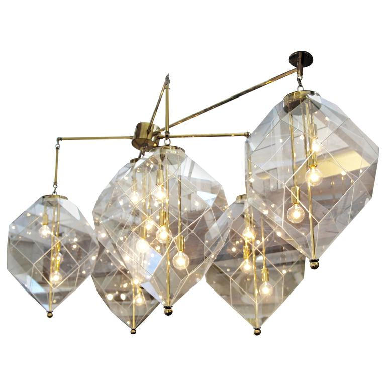 Geometric Brass Chandelier: Custom-Made Morrison Lighting Brass Chandelier With