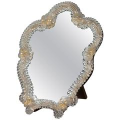 Table Top or Wall-Mounted Murano Glass Mirror