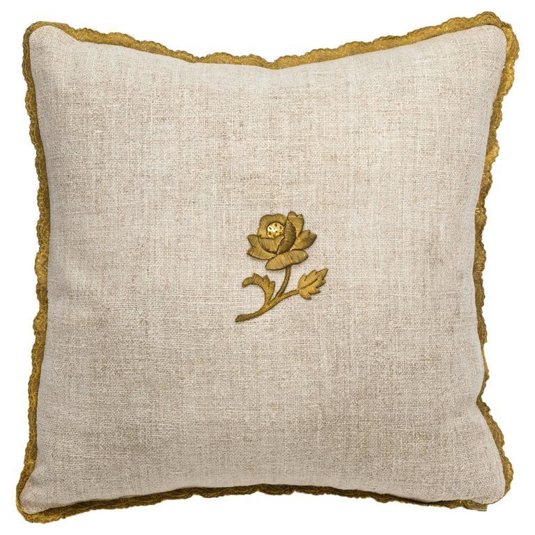 Antique Metallic Gold Appliqué on Linen Pillow 1