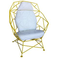 Custom Handmade Powder Coated Chair with Stylized Stitch Detail  Cushions