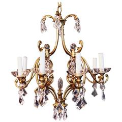 Beautiful, Elegant Brass and Crystal Chandelier with an Art Nouveaux Test