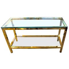 Brass with Nickel Corner Accents Sofa Table
