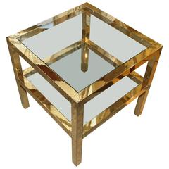 Brass and Glass End Table with Two Levels
