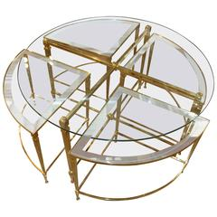 Italian Neoclassical Brass Nesting Cocktail Table with Mirrored Glass Accents