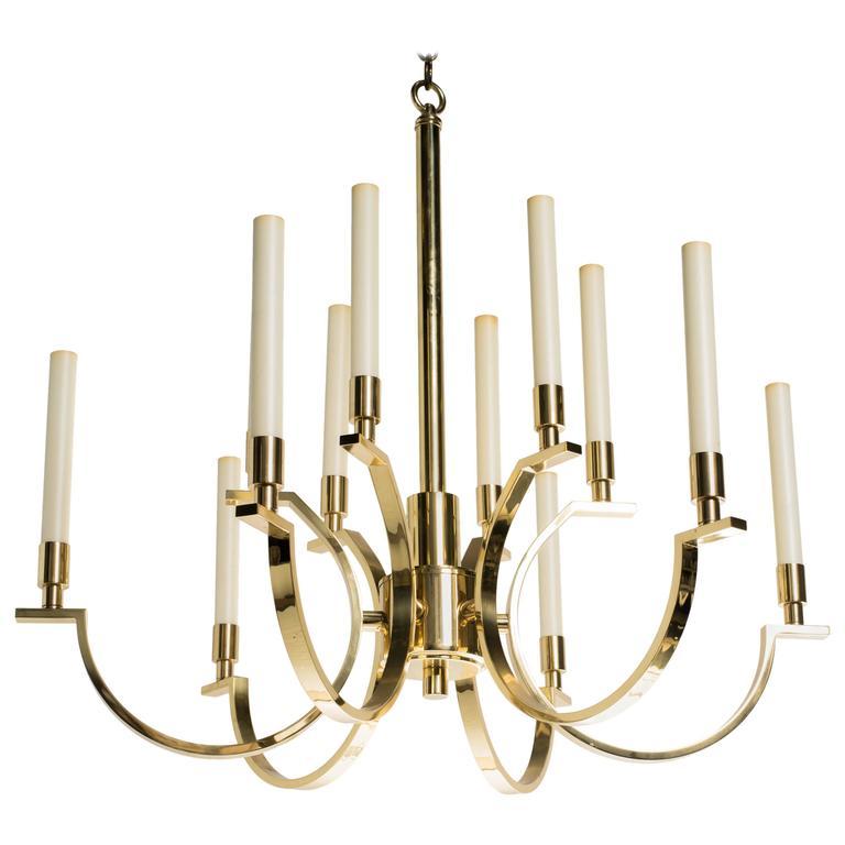 Frederick Copper Modernist Brass Chandelier