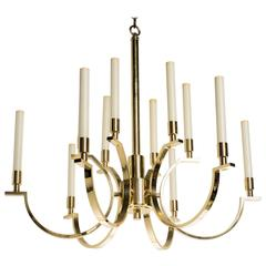 Frederick Copper Modernist Brass Chandelier