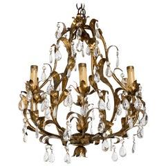 Gilt Metal and Crystal Chandelier
