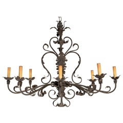 Large Floral Iron Chandelier