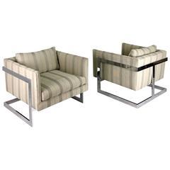 Milo Baughman Pair of Cube Lounge Chairs, circa 1970s