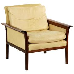 Sculpted Rosewood and Leather Lounge Chair by Hans Olsen for Vatne Møbler