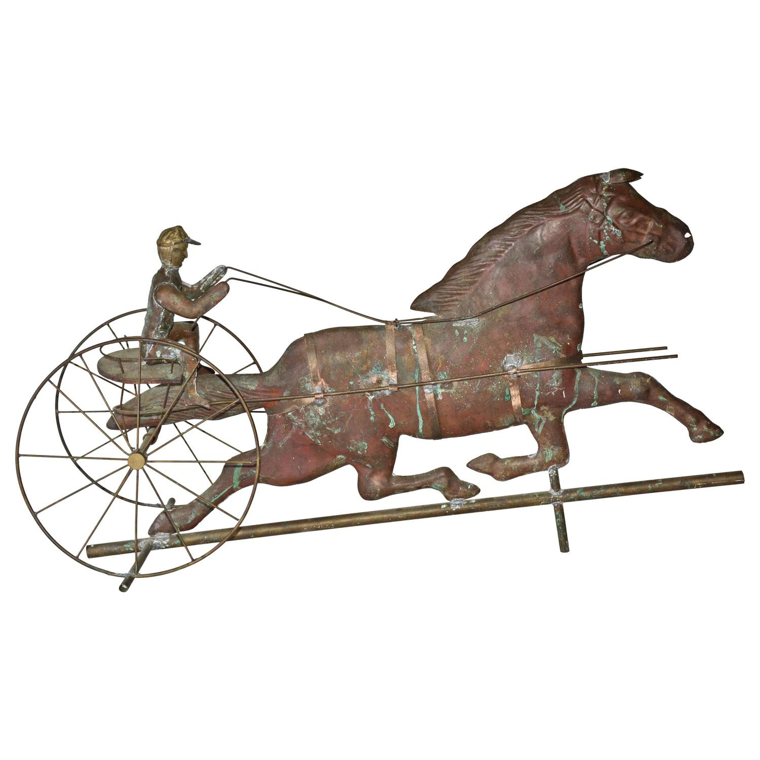 Vintage Weather Vane: Vintage Copper Trotting Horse And Jockey Weathervane For
