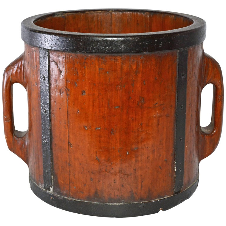 Antique Chinese Two-Handled Wood Bucket