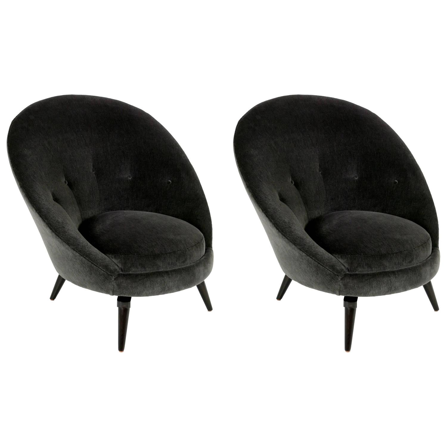 Pair of swivel egg chairs in the style of royere at 1stdibs - Second hand egg chair ...