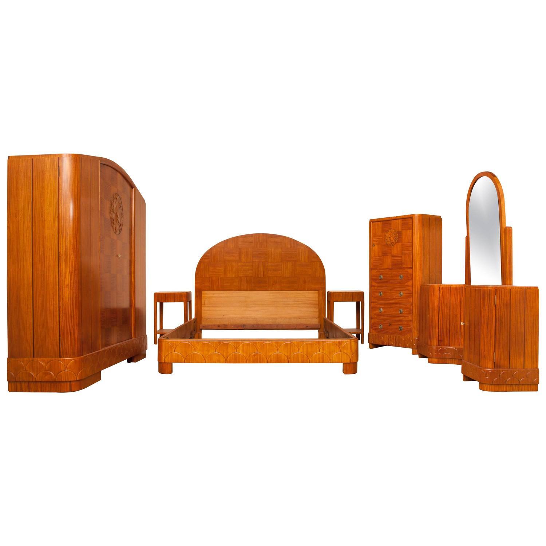 Built In Armoire Bedroom Art Deco Bedroom Suite Young Male Bedroom Decorating Ideas Bedroom Decor Sets: Art Deco Bedroom Suite In Satinwood For Sale At 1stdibs