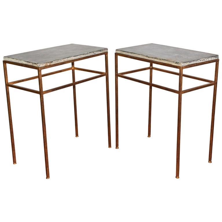 Indoor or Outdoor Gilt Metal and Stone Side Tables