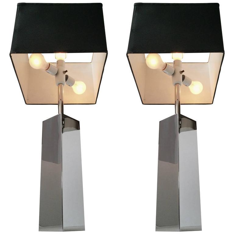 Massive Reggiani Chrome Table Lamp, Mid-Century Modern, Italy, 1960s