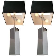 3 Massive Reggiani Chrome Table Lamp, Mid-Century Modern, Italy, 1960s