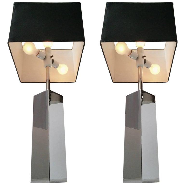 3 Massive Reggiani Chrome Table Lamp, Mid-Century Modern, Italy, 1960s For Sale