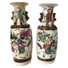 19th Century Pair Of Japanese Warrior Crackle Ware Hand Painted Vases, Signed