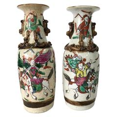 19th Century Pair Of Chinese Warrior Crackle Ware Vases, Signed