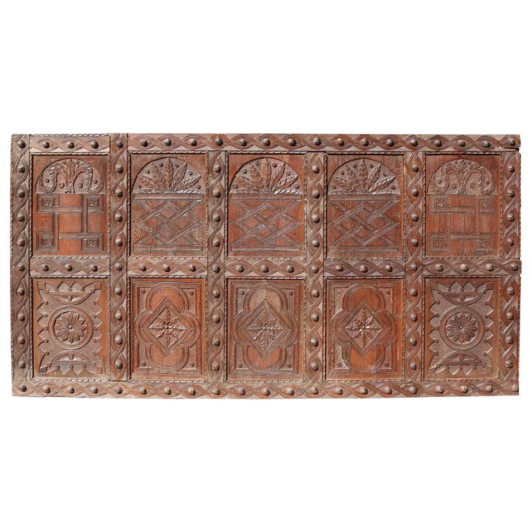Large English Antique Carved Oak Panel For Sale