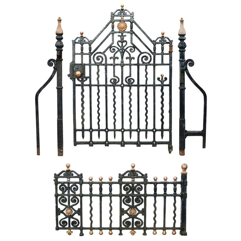 Antique Cast Iron Side Gate with Posts and Railings