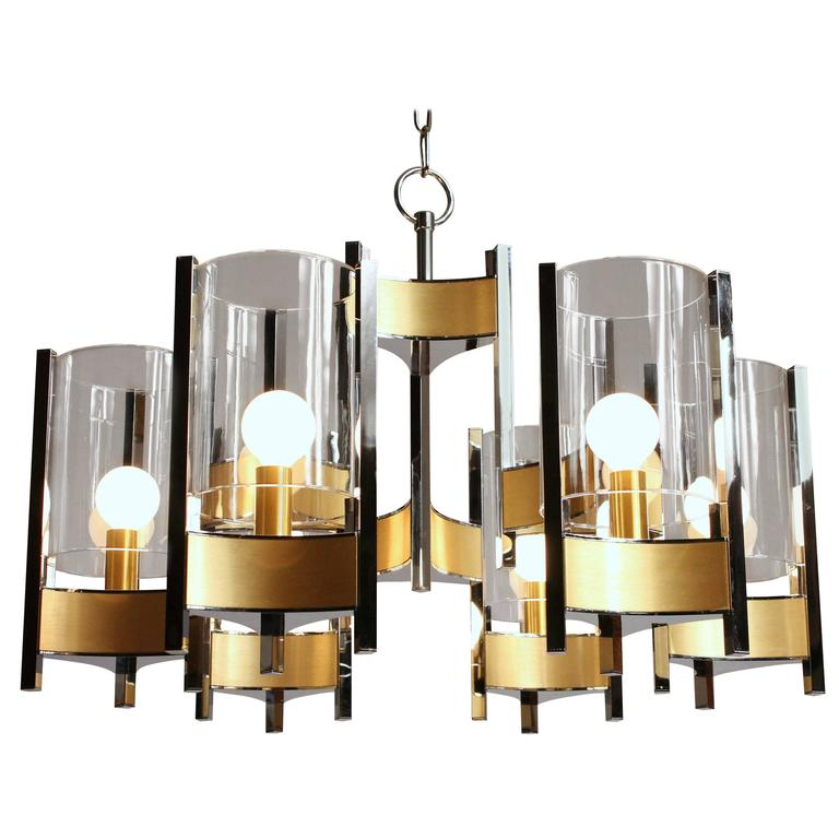 sciolari six light glass hurricane chandelier mid century modern 1970s italy for sale at 1stdibs. Black Bedroom Furniture Sets. Home Design Ideas