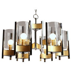 Sciolari Six-Light Glass Hurricane Chandelier Mid-Century Modern, 1970s, Italy