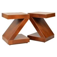 Pair of Vintage Sharp Modern Design Leather Clad Z-Themed Side or End Tables