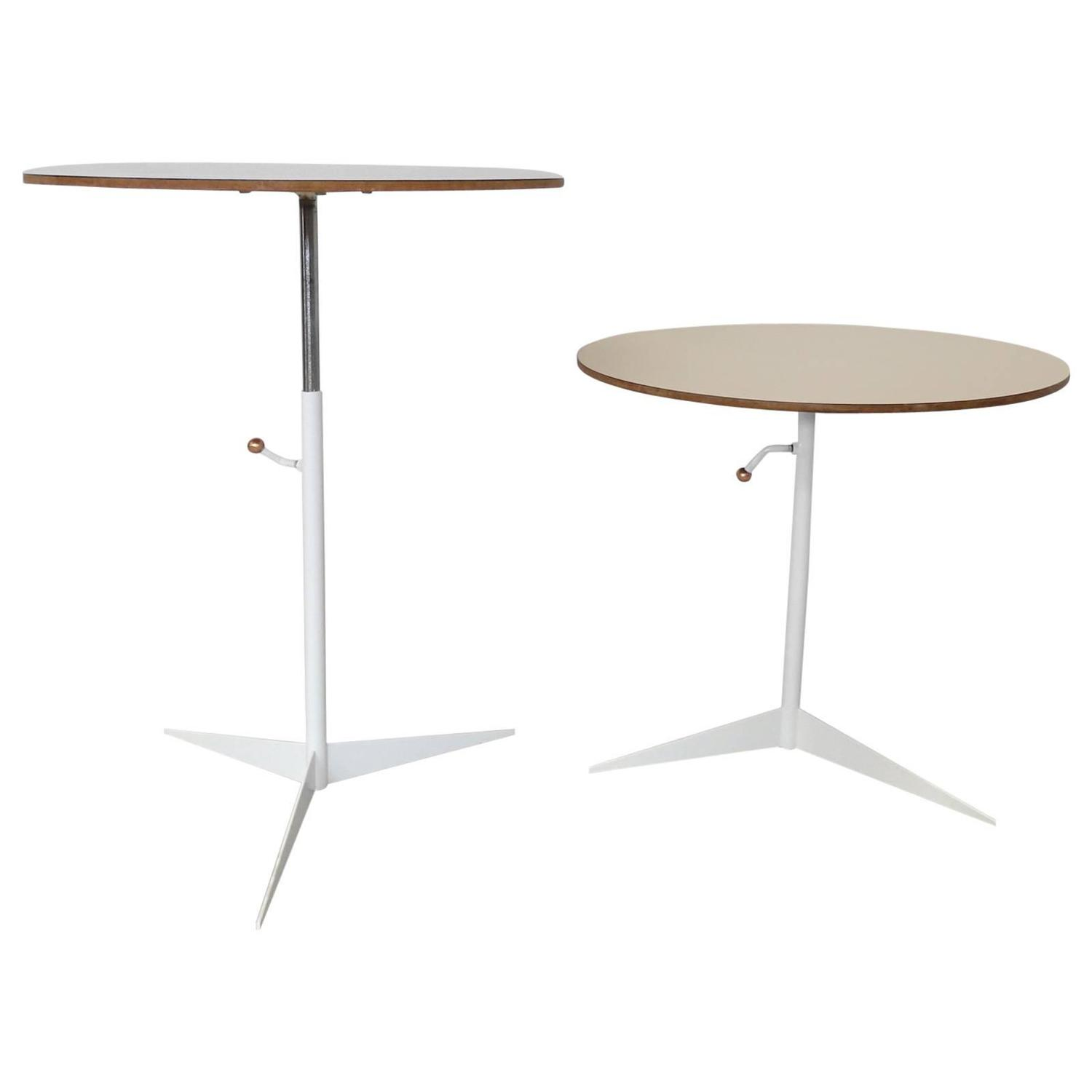 Pair of thin line adjustable height occasional tables for for Thin side table