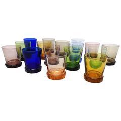 Large Set of 16 Wiener Werkstatte Rocks Glasses