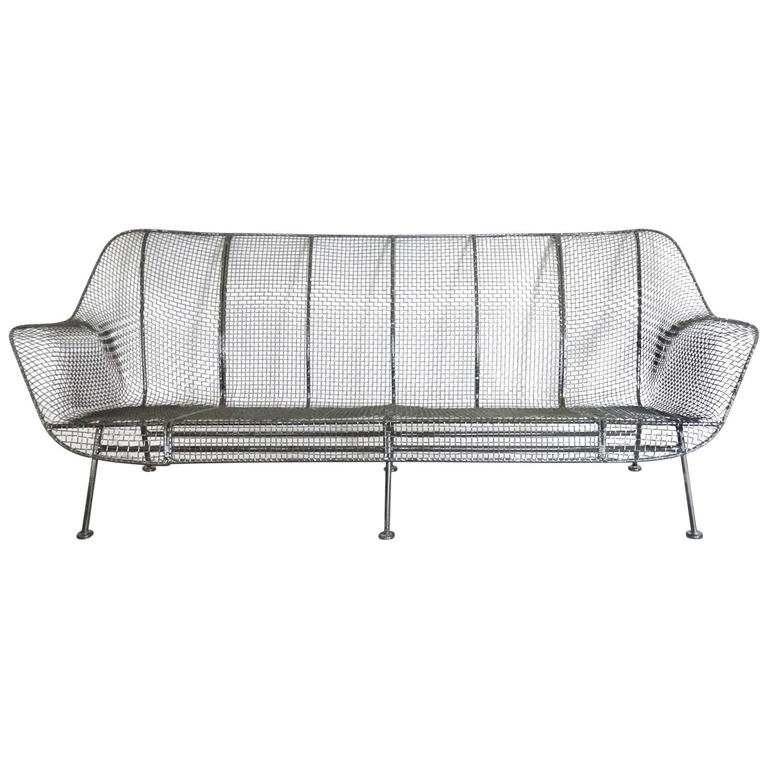 Full Size Woodard Wrought Iron with Steel Mesh Couch 1