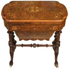 Beautiful Burr Walnut and Marquetry Inlaid Fold over Games/Chess Table