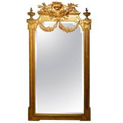 Fine Quality Carved Giltwood Late French Mirror, 19th Century