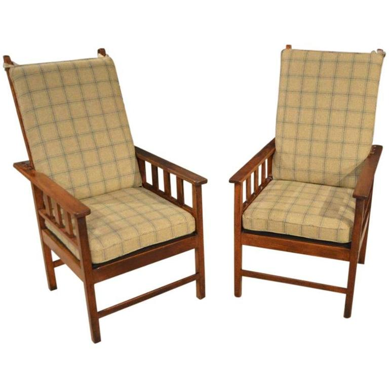 Pair of Mahogany Arts and Crafts Period Antique Reclining Chairs For Sale - Pair Of Mahogany Arts And Crafts Period Antique Reclining Chairs At