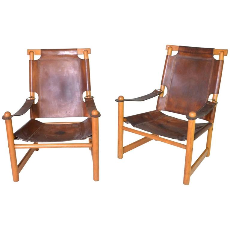 Leather Campaign Chairs For Sale