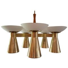 Mid-Century Modern Conical Brass and Glass Chandelier