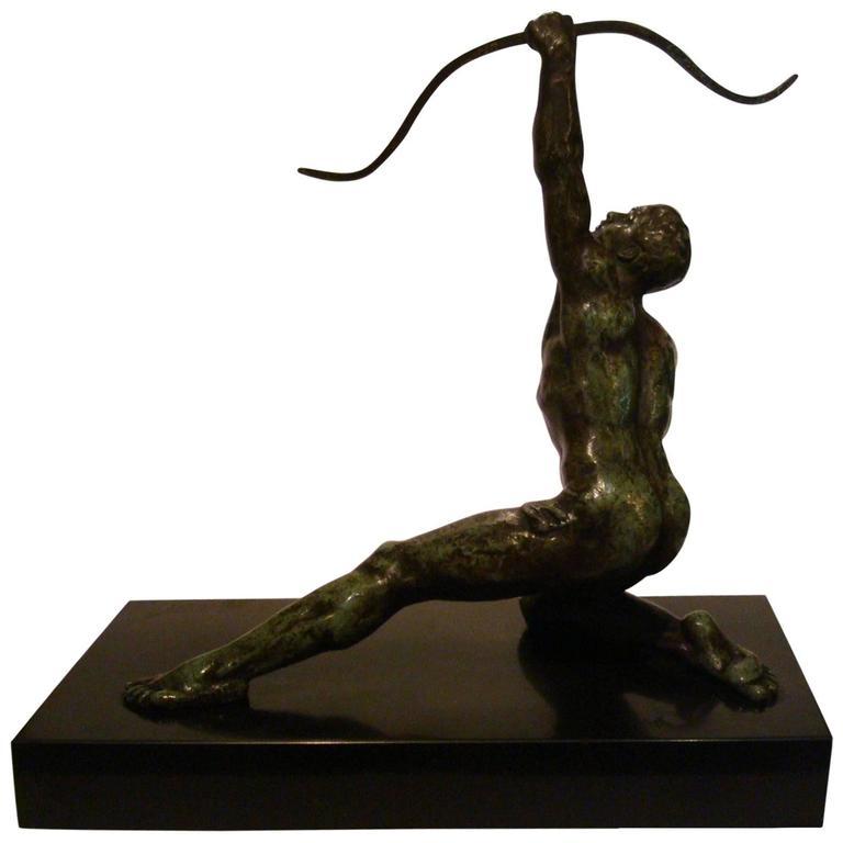 Art Deco Male Nude Archer Bronze Sculpture by Alexandre Ouline, France, 1925