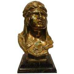 Native American-Indian Chief Bronze Sculpture
