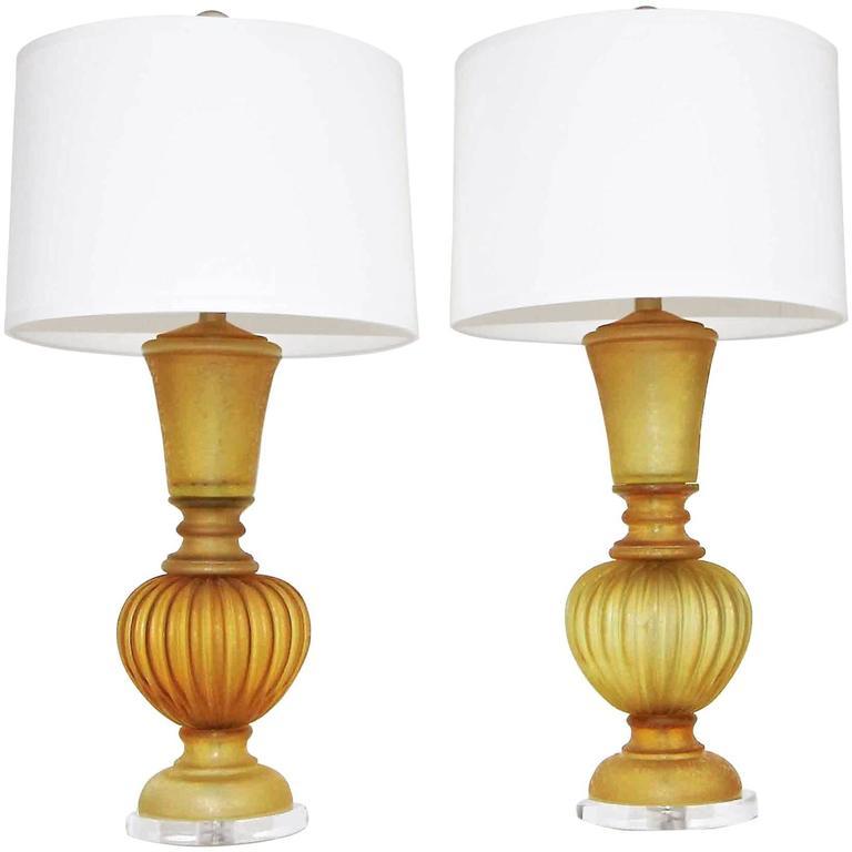 Pair of Marbro Seguso Murano Amber Corroso Table Lamps